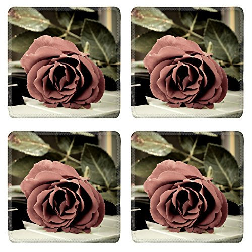 Price comparison product image Liili Natural Rubber Square Coasters Image ID 13335576 Red rose on the synthesizer keyboard and burning candle in the background