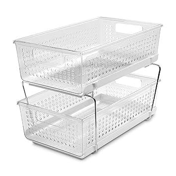 Purple Metal Under Cabinet Storage    Plastic Two Tier Basket Drawers