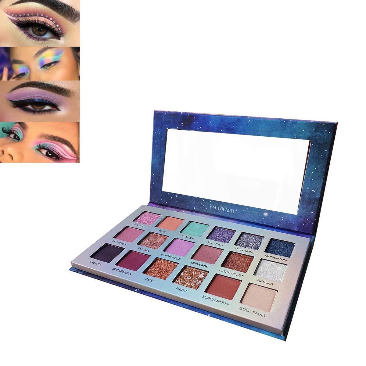 18 Colors Glitter Eyeshadow Palette, YMH BEAUTE Shimmer Matte Eyeshadow Makeup Palette Pigmented Natural Eye Shadows Long Lasting Waterproof Colorful Eyeshadow Pallet (GAIA)