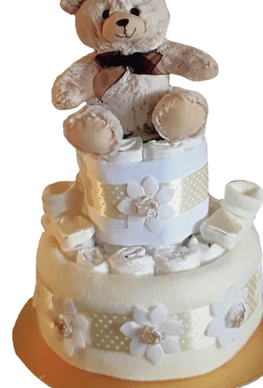 Unisexe bébé fille ou garçon deux Crème à deux étages à couches gâteau Baby Shower Cadeau de grossesse Nouvelle Maman Soft Touch