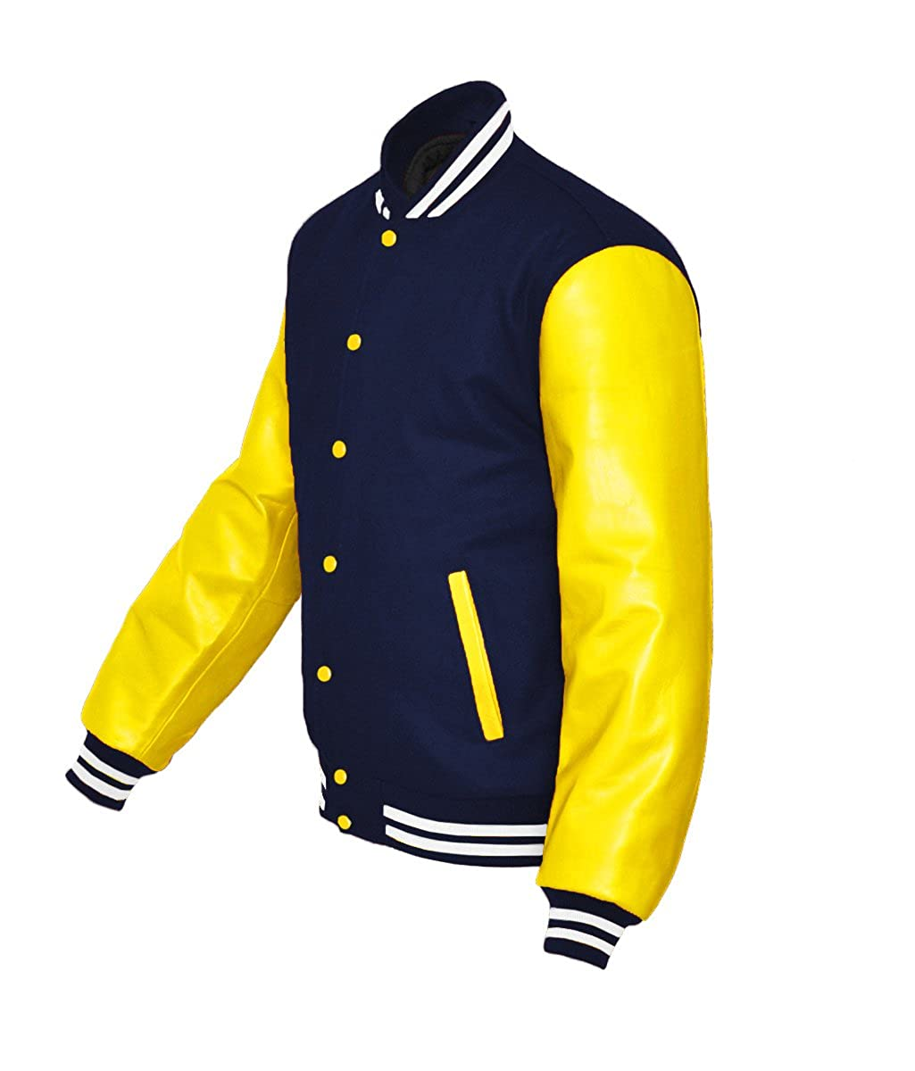 Superb Genuine Yellow Leather Sleeve Letterman College Varsity Kid Wool Jackets