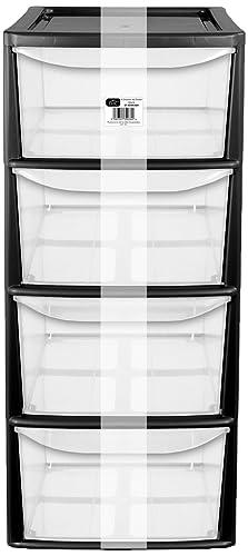 EHC A4 4 Drawer Tall Tower Plastic Storage Unit, Black