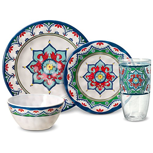 Pfaltzgraff Medallion Melamine Outdoor Dinnerware Set (32 Piece)