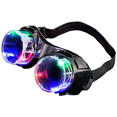 Rhode Island Novelty Light Up Mad Scientist Steampunk Black Goggles, DISCONTINUED: Clothing