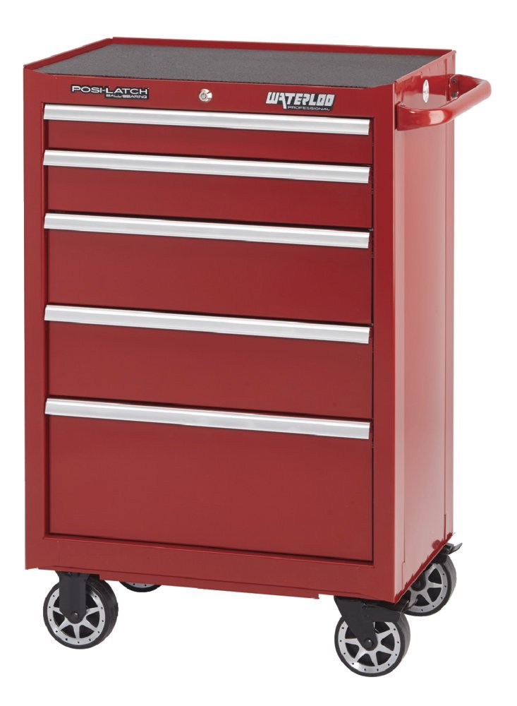 Waterloo Professional Series 5-Drawer Rolling Tool Cabinet with Internal Tubular Keyed Locking System, Red Finish, 26'' W by Waterloo