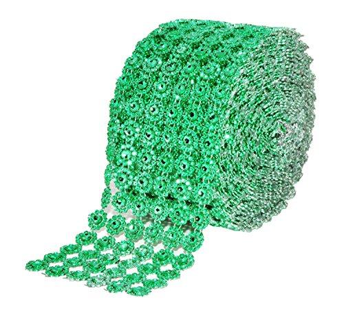 Mandala Crafts Bling Sparkling Acrylic Diamond Rhinestone Crystal Mesh Wrap Ribbon Roll for Cake Vase Centerpiece Party Wedding Decoration (Flower Pattern 4 inches 10 Yards, (Rhinestone Patterns)