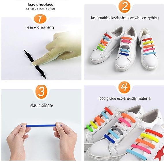 fitsion 20pcs/par no tie cordones impermeable elástico de silicona cordones para zapatillas deporte zapatos adultos niños, Multicolor: Amazon.es: Deportes y ...