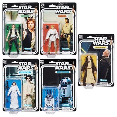40th Anniversary Set (Star Wars The Black Series 40th Anniversary 6 Inch Figure Wave 1 Set Of 5 with Free themed)