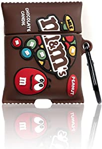 Compatible with Airpods 1/2 Case Cover,Stylish Chic Food Character Skin Keychain,Cute 3D Funny Cartoon Food MM Chocolate Soft Silicone Protective Airpods Cover,for Girls Boys Teens Kids (Brown)