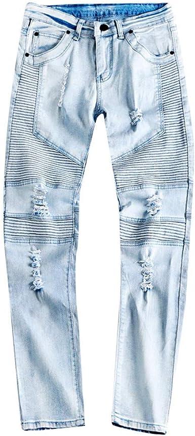 Hombres Hombres Pantalones Vaqueros Del Estiramiento Pantalones Casuales Con Mode Basicos Agujeros Finos Del Verano Pantalones Vaqueros Rasgados Pantalones Casuales De La Moda Bolsillo Del Pantalon Amazon Es Ropa Y Accesorios