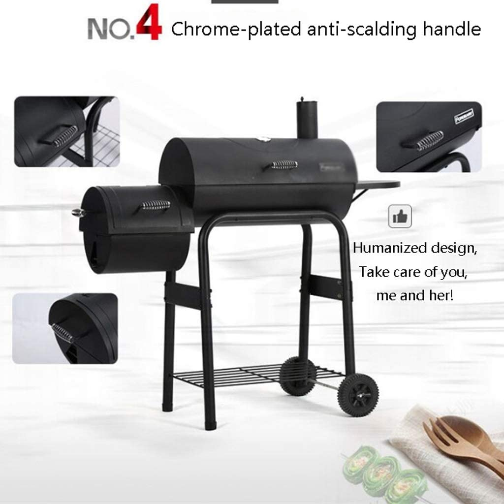 Jixi Barbecue Grill Barbecue au Charbon Barbecue Commercial Grand Épaississement Patio extérieur Barbecue Barbecue Barbecue Poêle (Color : Black) Black