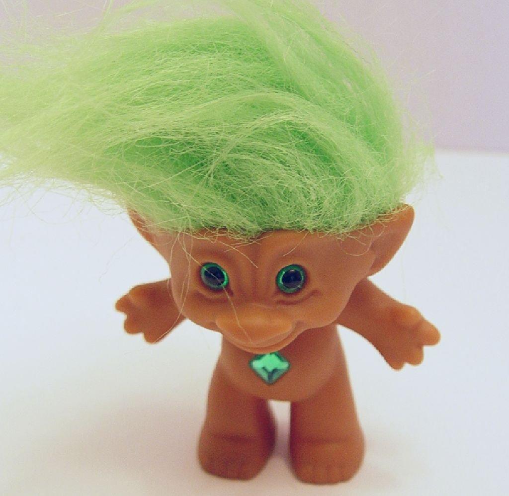 Ace Novelty Lime Green Haired Green Diamond Shaped Jewel Treasure Troll Doll