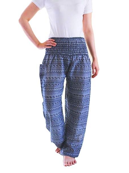 Amazon.com: thainara® – Pantalones de harén HIPPIE ...