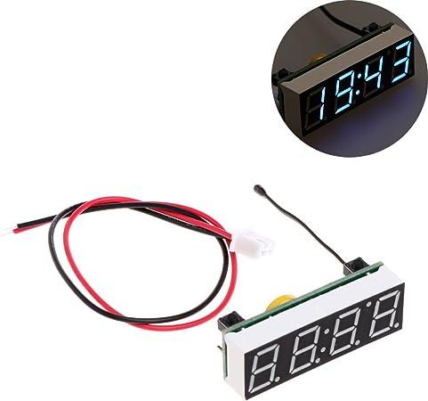 Qiman 3 In 1 12 V Led Digital Auto Auto Uhr Thermometer Voltmeter Sensor Voltmeter Blau Auto