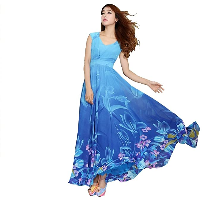 399b097be8ff Dresses For Women Great Summer Offer On Latest Regular   Party Wear Digital  Printed Dress Material Crape Fabric In Blue Color free Size (blue)   Amazon.in  ...