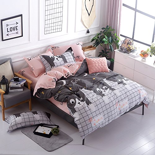 Bed SET 4pcs Bedding Duvet Cover No Comforter Flat Sheet Pillowcases BL Twin Full Queen Set Cartoon Love Cat Season Cloud Design for Kids Adults Teens Sheet Sets (Small Love Cat, Grey, Queen, 78''x90'')