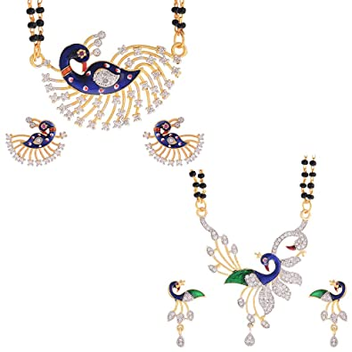 07382d2691 Buy Sitashi 18 K Gold Plated Alloy & American Diamond Mangalsutra Tanmaniya  Combo for Women Online at Low Prices in India | Amazon Jewellery Store -  Amazon. ...