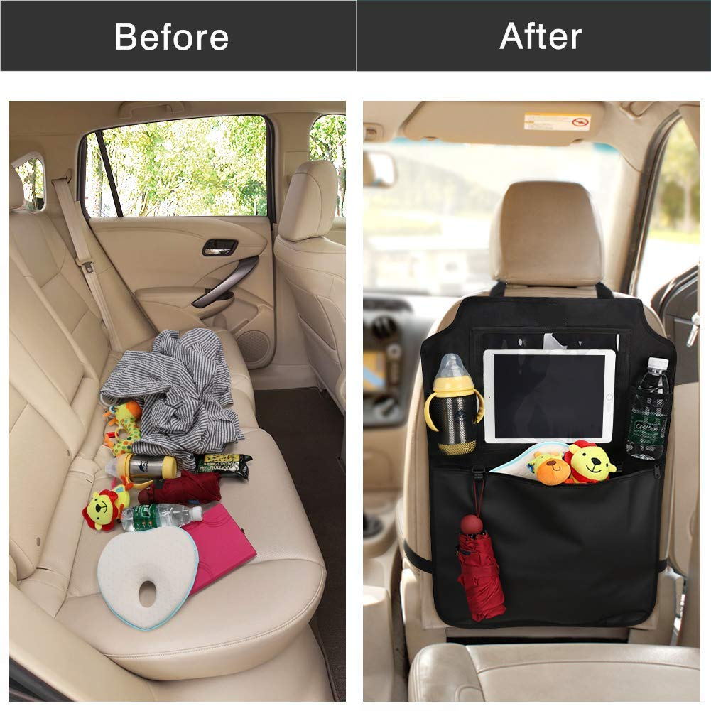 Flysea Car Backseat Organizer, Kick Mats Car Seat Protector, Kids Backseat Organizer Garbage Can with Touch Screen Tablet Holder and Storage Pockets for Toys Book Bottle Drinks Toddlers Baby, 2 Pack