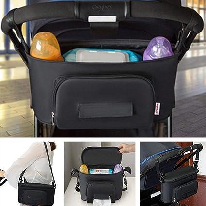 Winiron Bolsos Carro Bebé Bolsas Paseo Organizador Gran Capacidad Oxford Bolsas Organizador Carro Silla Paseo Negro