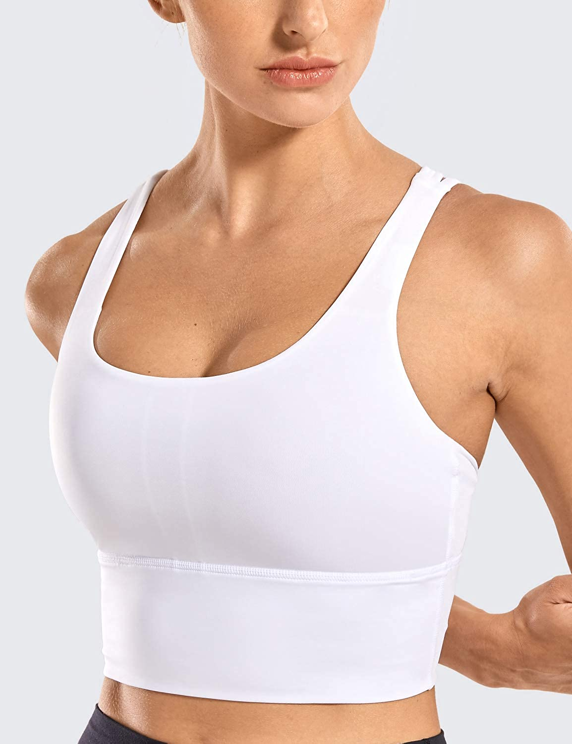 CRZ YOGA Strappy Sports Bras for Women Longline Wirefree Padded Medium Support Yoga Bra Top at  Women's Clothing store