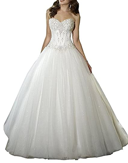 17d62f648c Beautyprom Women s Sweetheart Beaded Ball Gown Bride Wedding Dress   Amazon.co.uk  Clothing