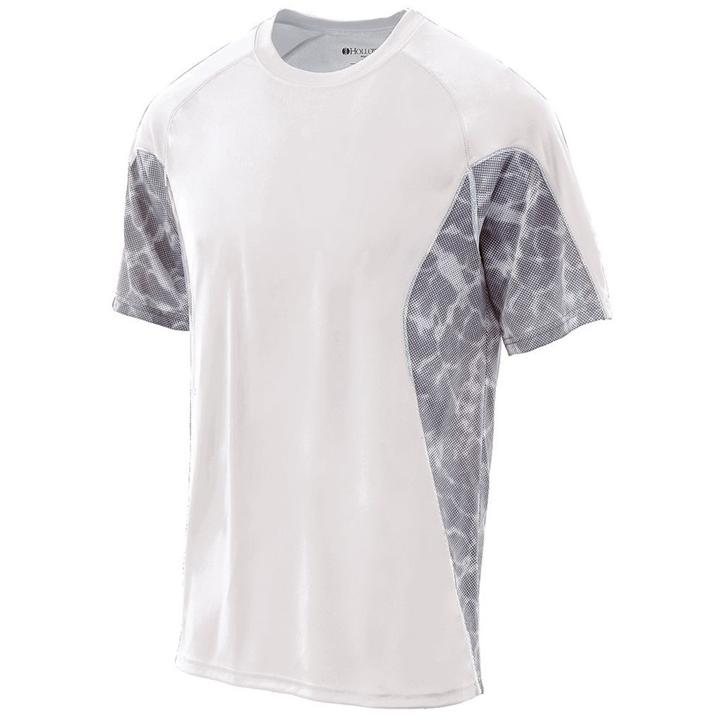 Holloway Youth Dry Tidal Shirt Semi-Fitted (Medium, White/White Print) by Holloway