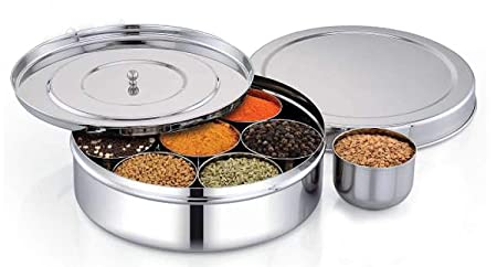 7 Container Stainless Steel Spice Box//Masala Dabba//Indian Kitchen Spice Box