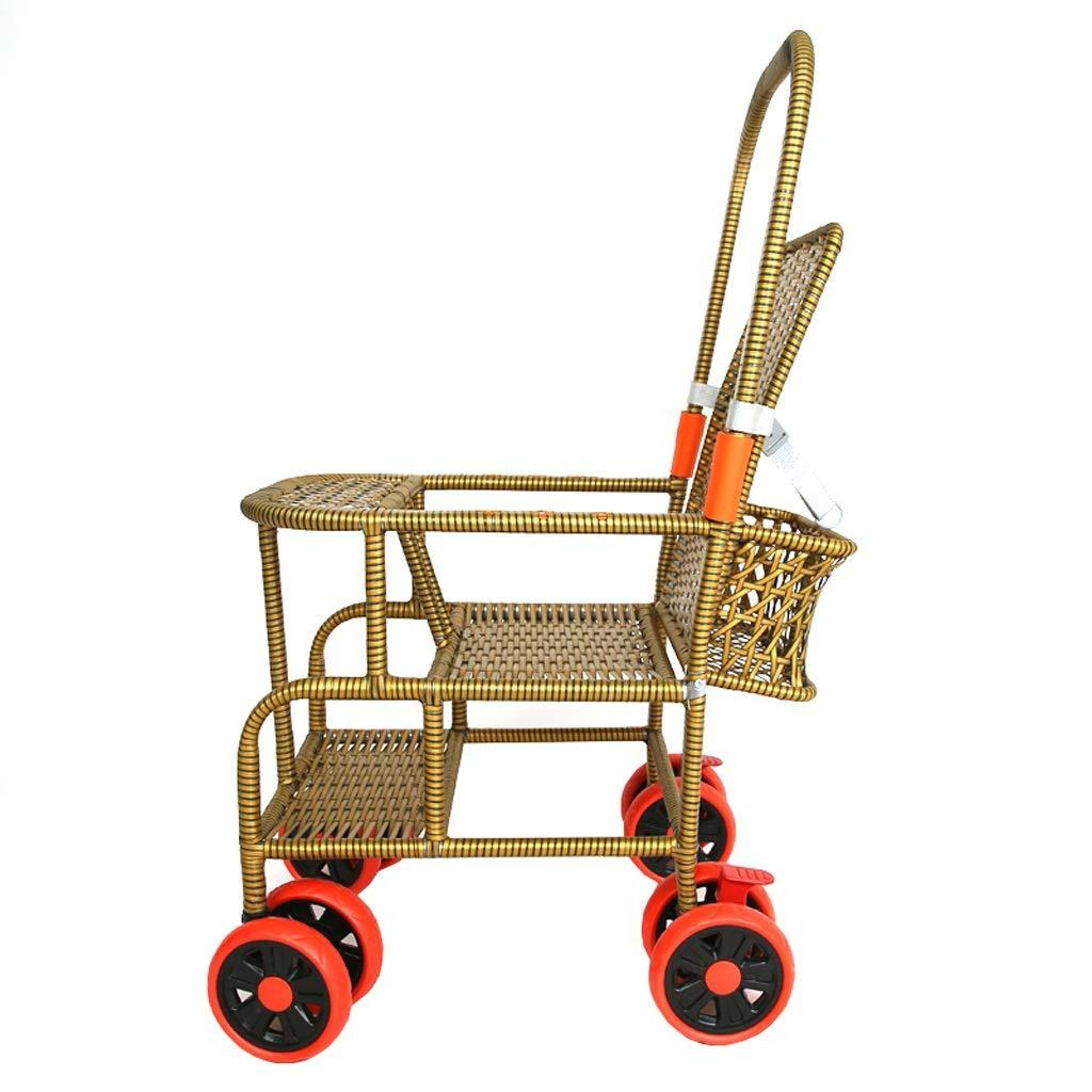 【セール】 ベビーカー - - ダイニングチェア竹籐ベビーカー手編み背もたれ調整可能なショックアブソーバーブレーキロード55ポンドシート13