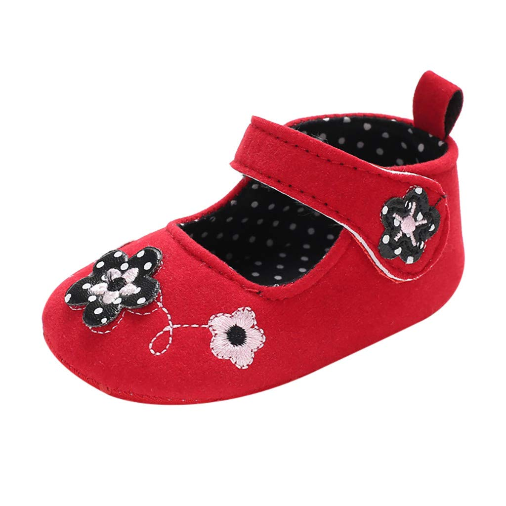 NUWFOR Infant Newborn Baby Girls Soft Sole Flower Decal Princess Shoes Single Shoes(Red,0~6 Month)