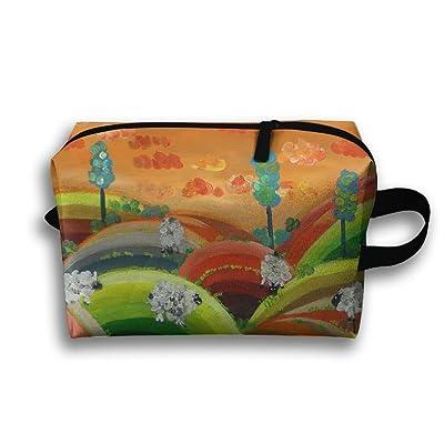 Travel Bag Orange Sky And Cute Sheep Crop Cosmetic Bags Brush Pouch Portable Makeup Bag Zipper Wallet Hangbag Pen Organizer Carry Case Wristlet Holder