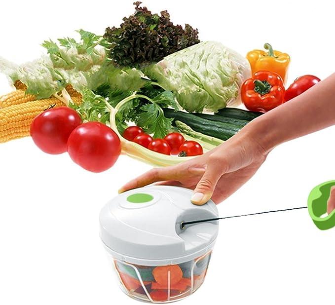 Chopper para comida Manual, Robot de cocina Batidora Licuadora para verduras picadora con 2 cuchillas afiladas de acero inoxidable para ensalada frutas verduras carne Nuts Hierbas purees hmjunboys: Amazon.es: Hogar