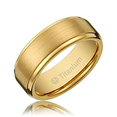 gold plated titanium wedding band. 8mm men\u0027s titanium gold-plated ring wedding band with flat brushed top and polished finish edges|amazon.com gold plated amazon.com