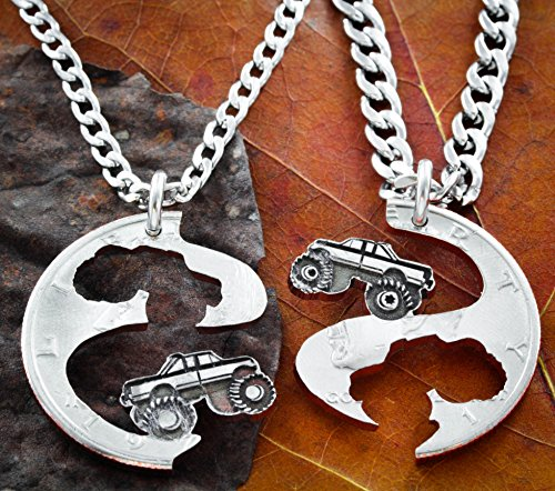 Best Friend Truck Necklaces, Mudding Tires, Mud Bogging, 4X4, Monster Trucks, Couples Jewelry, 4 wheelers, Big Tires, Cut Coin by Namecoins