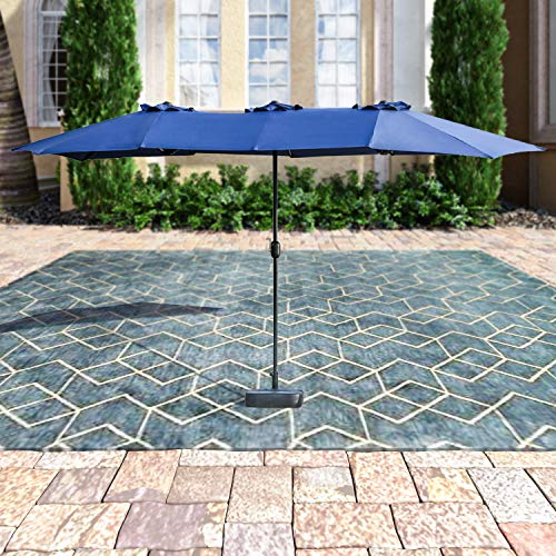 Patio Festival Double-Sided Outdoor Umbrella,15×9 ft Aluminum Garden Large Umbrella with Tilt and Crank for Market,Camping,Swimming Pool Middle, Blue