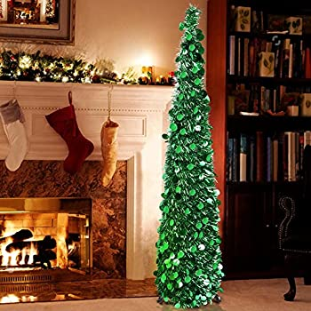 aytai 5ft collapsible pop up christmas tree green tinsel coastal christmas tree for small apartment holiday - Pop Up Christmas Tree With Lights And Decorations