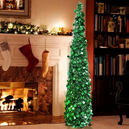 Aytai 5ft Shiny Collapsible Tinsel Artificial Christmas Tree With Stand, Affordable Easy-Assembly Green Christmas Tree Holiday Party Decorations Small Apartment Xmas - Tinsel Christmas Trees