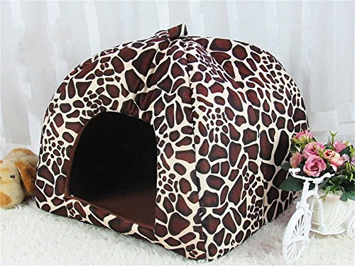 Vedem Pet Portable Strawberry Fleece House Bed for Dog/Cat/Rabbit/Hamster/Guinea-pigs (M, LEOPARD)