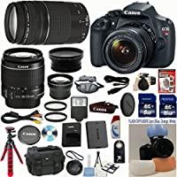 Canon EOS Rebel T5 DSLR CMOS Digital SLR Camera and DIGIC Imaging w/ EF-S 18-55mm f/3.5-5.6 IS Lens +Canon 75-300mm III Zoom Lens + 15pc Accessory Kit - International Version At A Glance Review Image