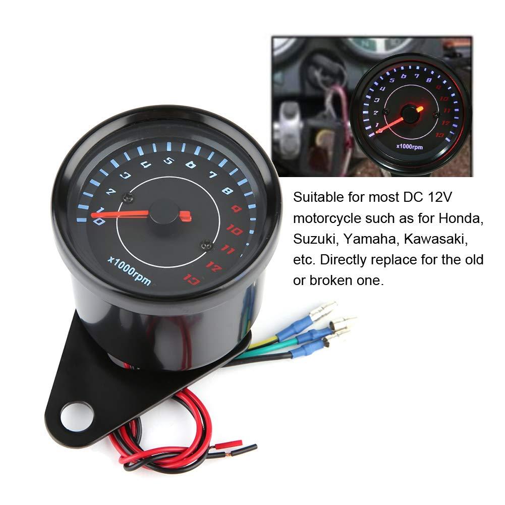 Motorrad Drehzahlmesser 0-13000 U//min LED Hintergrundbeleuchtung Elektronische Drehzahlmesser Manometer f/ür DC 12 V Motorrad