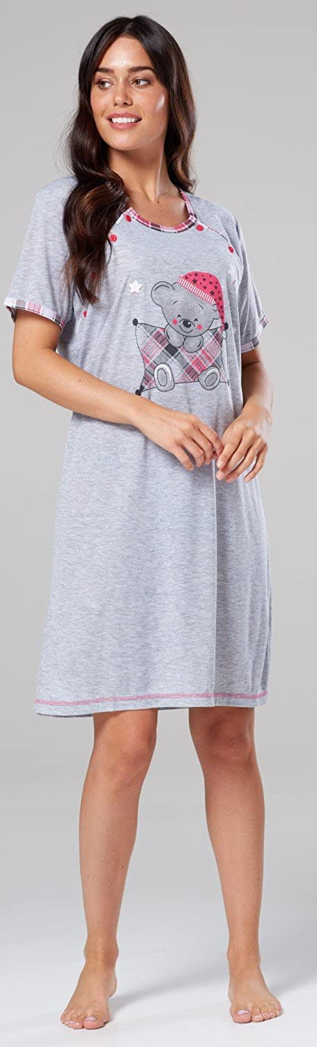 Happy Mama.Womens Maternity Nursing Nightdress Shirt Gown Side Buttons 271p