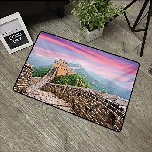Carpets Floor Door Mat Great Wall of China,Fantasy Sky on Cultural Architecture Section Surrounded by Grassland Print,Multi,Indoor Outdoor, Waterproof, Easy Clean, Low-Profile Mats,35