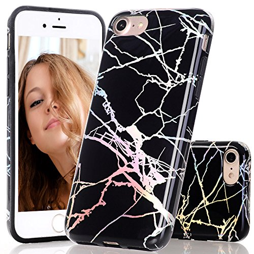 BAISRKE Black Marble Case with Gorgeous Holographic Pattern Laser Style Design Slim Black Bumper TPU Soft Rubber Silicone Cover Phone Case for iPhone 7 (2016) / iPhone 8 (2017) [4.7 inch]