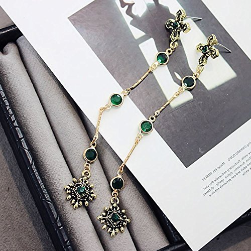 (usongs Small universe time retro fashion green crystal cross earrings elegant women girls long section South Korea)