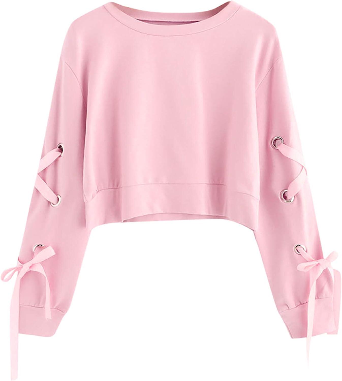 YONGM Womens Long Sleeve Cute Print Crop Hoodies Tunic Sweatshirts