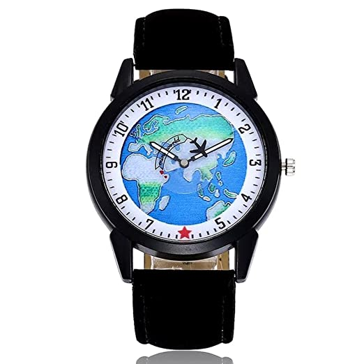 MINILUJIA Wrist Watch for Boy Airplane Moving Flying World Map Watch with Black Color Watch Band