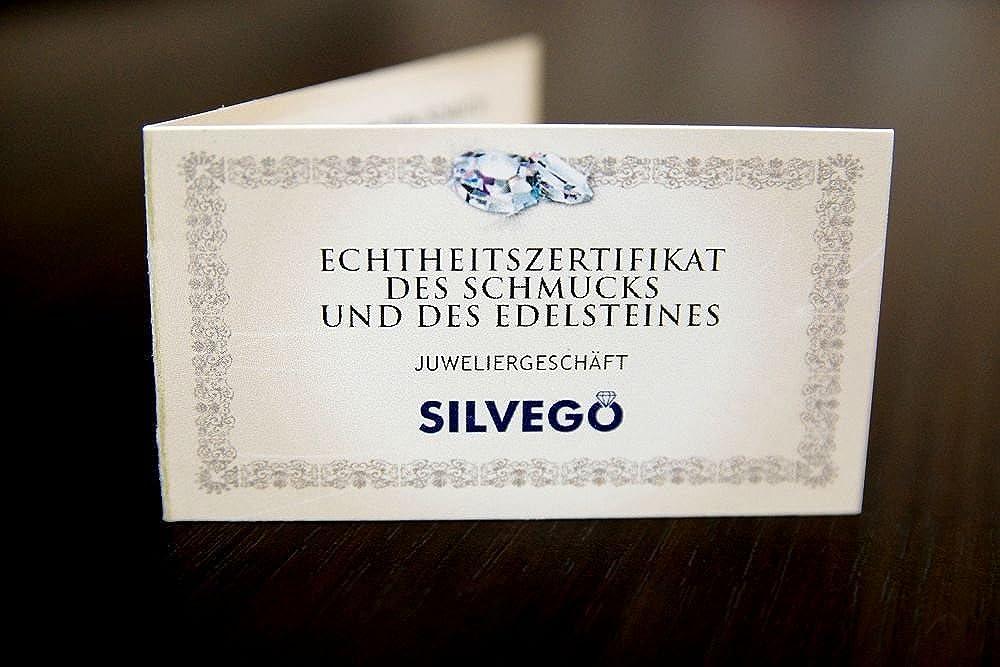 SILVEGO Ciondolo da Donna con Vero Granato Ceco in Argento Sterling 925