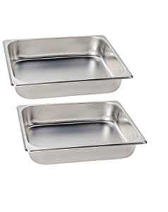 Premier Choice 2 Pack 1/2 Size Chafer Food Pan Stainless Steel Steam Table/Hotel Pan - 2 1/2