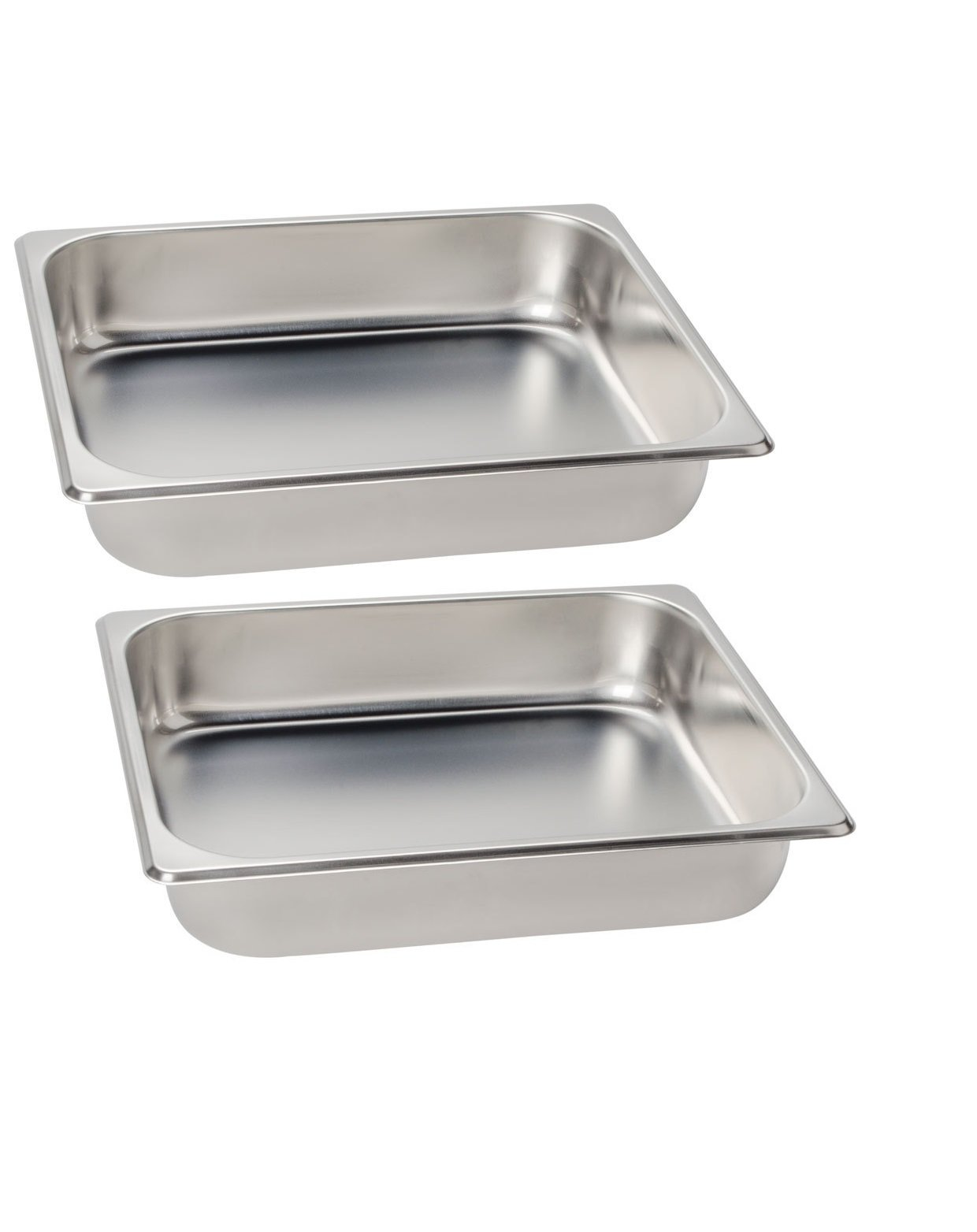 Premier Choice 2 Pack 1/2 Size Chafer Food Pan Stainless Steel Steam Table / Hotel Pan - 2 1/2'' Deep