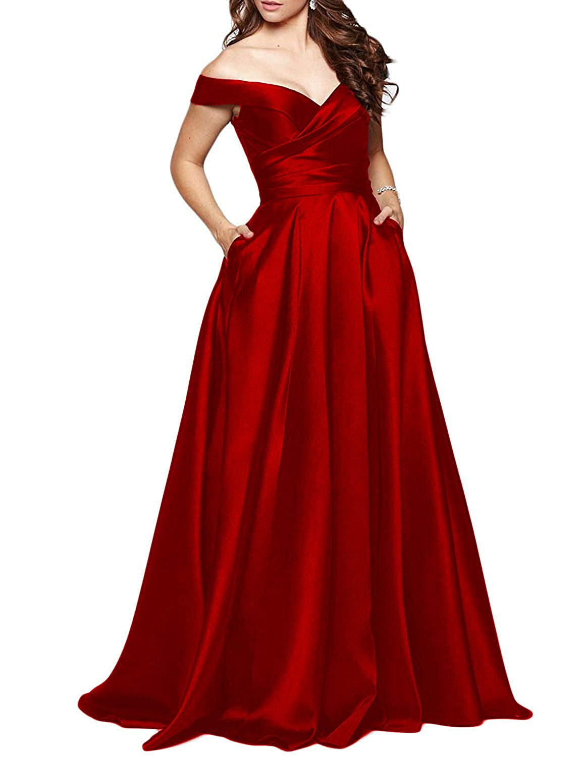 Burgundy PromC Women Off Shoulder Prom Dresses 2019 Long Formal Wedding Bridesmaid Gown P005