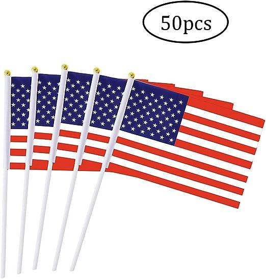 DierCosy Estados Unidos Palo de la Bandera 50PCS / Paquete Latina Mano Que agitan Banderas Mini Bandera